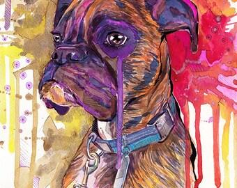 Boxer dog art print 8x10  Digital Print Watercolor Art print Watercolor painting print