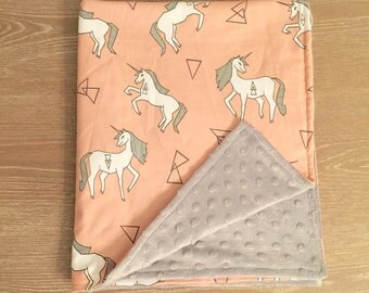 New Designer Unicorn Minky Baby Blanket
