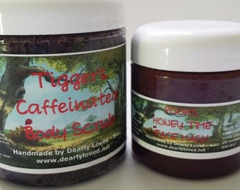 BODY SCRUB & MASK - With this duo you get both a Tigger's Caffeinated Body Scrub and a Pooh's Honey Time Face Mask!
