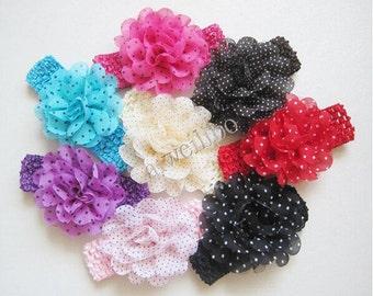 Baby Headband, Baby Girl Headband, Dot Chiffon Flower Elastic Headband