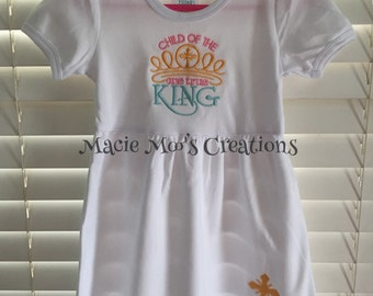 Child of the One True King Ruffled Knit Dress with second design on dress bottom. Embroidered