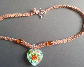 Orange Flower Glass Pendant Necklace