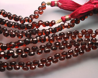 9 Inches Strand, Super Finest AAA Mozambique Garnet Faceted Onion Tear Drops, Size 5-6mm