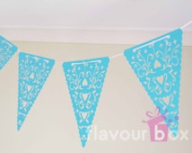 Party Garland Heart Laser Cut Pennant Kit (BLUE) - Bunting - Flag - Wall Decoration