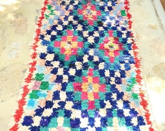 Boucherouite carpet Moroccan vintage vibrant colors