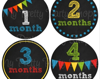 "4"" Chalkboard Printable Baby Month Sticker, Baby Monthly Sticker, Baby Milestone Stickers, Bodysuit Stickers *INSTANT DOWNLOAD*"