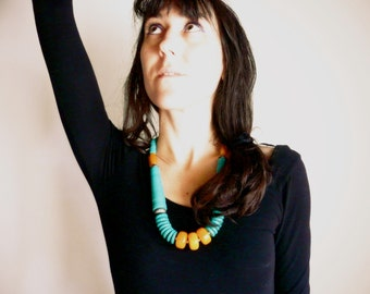 Big necklace amber and turquoise nepal