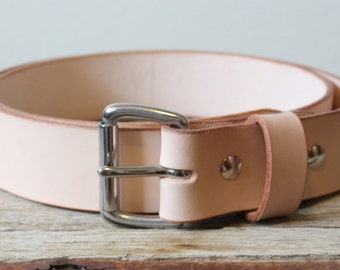 Natural Leather Belt / Made In the USA  / Stainless Steel Buckle / Handcrafted