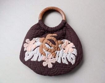 Sea Turtle Handbag with Wooden Handles