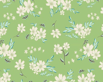 Crib/Toddler fitted bed sheet, winged, floral, green-turqoise-aqua