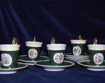 French Regency demitasse courting cups and saucers ideal cabinette display