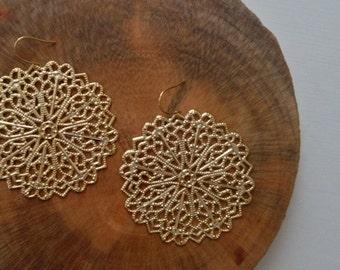 16k gold plated earrings / large charm earrings / large earrings / cute earrings