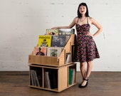 Vinyl Record Album Storage Shelf bin LP or holder. No tools required to assemble. Hi Phile Record Cabinets.