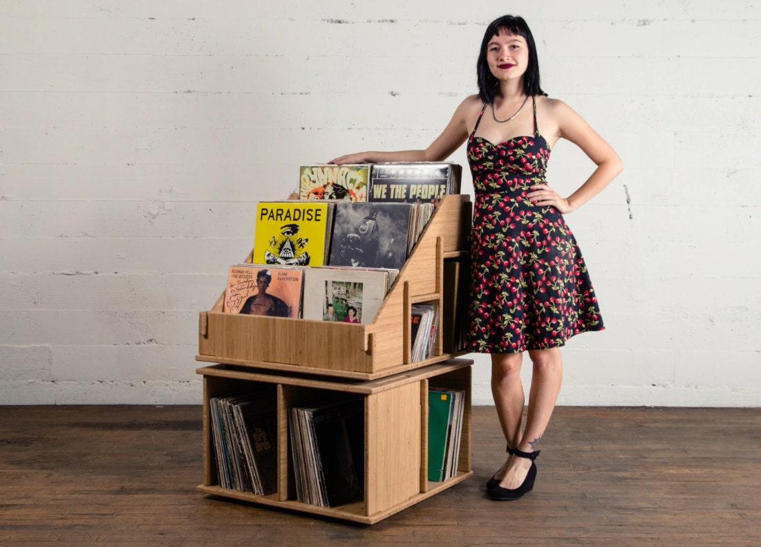 vinyl record album storage shelf bin lp or holder no tools. Black Bedroom Furniture Sets. Home Design Ideas