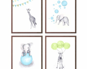 Animal Nursery Decor, Baby Boy Nursery Art, Baby Elephant, Zebra, Giraffe, Blue and Green, Art for Baby Boy, Wall Art, Set of 4 - S028W