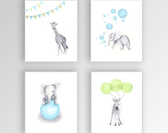 Baby Boy Nursery Decor, Canvas Nursery Art, Blue and Green Nursery, Elephant Nursery, Safari Animals, Set of Four Canvases - S408