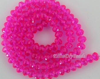 100 Pieces,New 6mm Romantic Fushia Rondelle Faceted Crystal Beads,Fashion Fushia Crystal Beads,1Strand,Gemstone Beads,Supplies-BR078