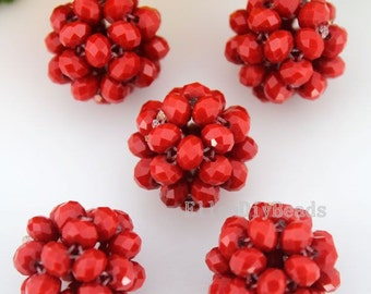Charming 22mm Handmade Red Crystal Ball Beads,DIY Jewelry Making,Crystal Ball Beads, Pendant Necklace-5Pcs-BR053