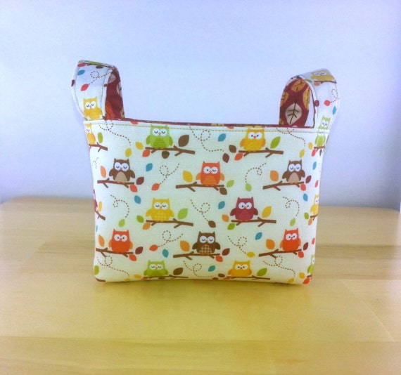 Small Fabric Storage Bin Basket ~ Happy Harvest Owls by Riley Blake