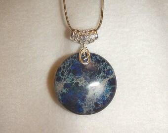 Round Dark Blue Sea Sediment Jasper pendant necklace (JO158)