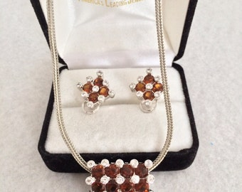 Beautiful Citrine And Clear Rhinestone Checkerboard Style Paved Set Demi Paruer Necklace & Pierced Earrings Set