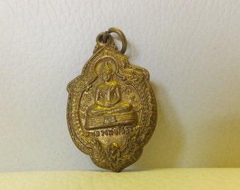 Buddha Brass Pendant 2-Sided, Vintage