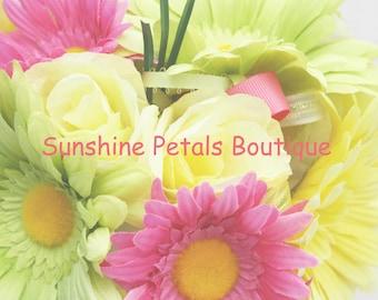 Handmade Keepsake Pink, Yellow & Green Gerber daisy bouquet