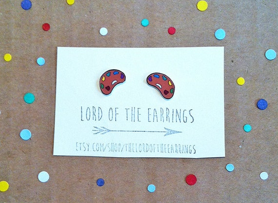 Art Palette Stud Earrings by thelordoftheearrings on Etsy