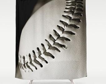 Sepia Baseball Shower Curtain Black Vintage Sports Bathroom Masculine Decor Athletic Home Decor
