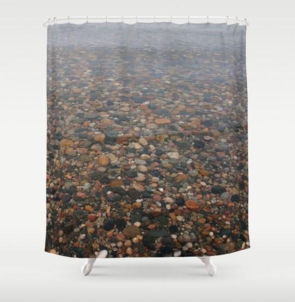 Tan Black Amber Fabric Shower Curtain By NaturalLightStudio