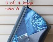 Limited edition Blue Batik Wedge Knitting Project Bag with Needle Holder and Stitch Marker Holder (Calm Series)