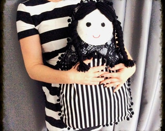 cushion-shaped flowers quilted purse russian doll Matryoshka lace pom pom white black white black striped doll home deco mothers day