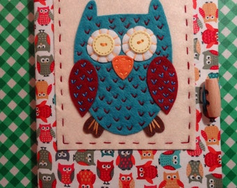 Handmade, reusable A5 Owl notebook cover, includes notebook