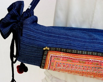 Yoga Mat Bag Cross Stitching From Hmong Tribe Embroidered.Thai Cotton Mix Ethnic Handmade.