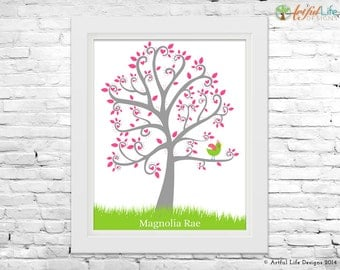 Personalized Baby Girl Nursery Art, Personalized Baby Gift, Baby Bird, Tree Nursery Wall Art, New Baby Decor, Pink, Green, Grey Nursery art