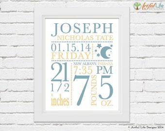 BIRTH STATS, Baby Stats, Nursery Decor, New Baby Gift, Personalized Baby, Baby Gift, Baby Girl Nursery, Baby Boy Nursery, Nursery Wall Art
