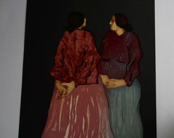"""R.C.Gorman """"two sisters"""" hand pulled lithograph printers proof"""