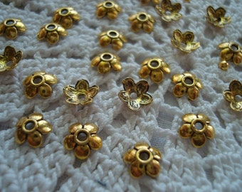 144 Little Flower Beadcaps. 6.5x2mm  Beautiful Antique Gold Finish Flowers with 5 Petals. Darling Gold Flower Caps!  ~USPS Ship Rates/Oregon