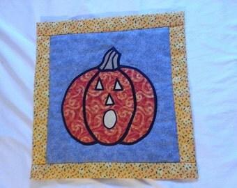 Stain Glass style Pumpkin Halloween wall hanging