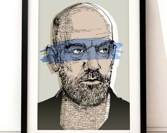 Michael Stipe portrait print, Michael Stipe art print, R.E.M. inspired print, portrait print, Michael Stipe illustration, R.E.M. art