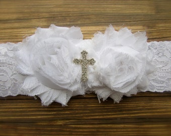 White Headband, Baby Cross Headband, Baby Headband, Cross Headband, Infant Headband, Baptism Headband, Flower Headband, Christening Headband