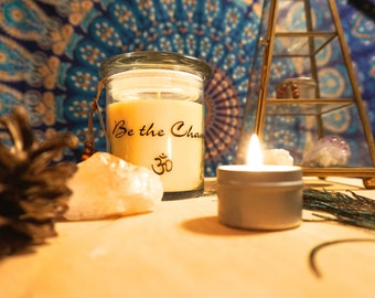 Be the Change Soy Candle, Natural Candle, All Natural Essential Oil Candle, Meditation Candle, 8 oz Soy Candle, Inspirational Quote Candle.