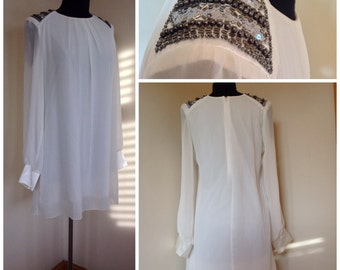 Vintage white babydoll dress dress with satin cuffs and sequin shoulder detail size M
