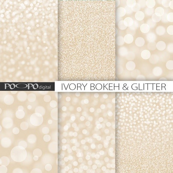 Ivory Glitter Bokeh Digital Paper Beige White Tan Cream