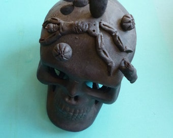 Day of the Dead Skull Folk Art Ceramic Black Clay made in Mexico