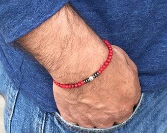 FREE SHIPPING-Men's Red Bracelet,Men's Beaded Bracelet,Men Stone Bracelet,Men's Stretch Bracelet, Mens Hematitel Bracelet,Bracelets For Men