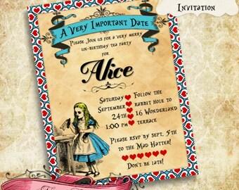 "Alice in Wonderland Invitation, Wonderland 5""x7"" Birthday Invite, Alice Printable Invite, Custom digital Invitation"