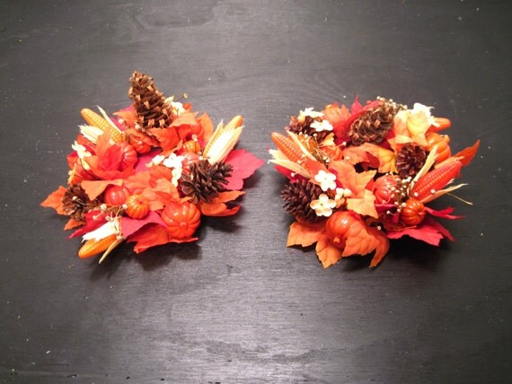 Thanksgiving Fall Candle Ring Holder By Rusticnicknacknstuff