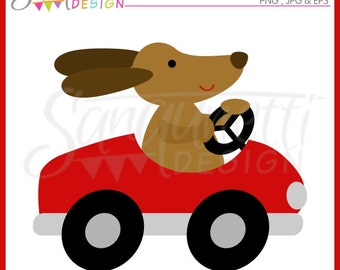 Dog Driving Car Clipart Commercial Use License Included
