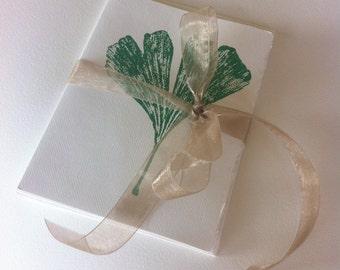 Set of 4 Monoprint Green Leaf Impression Blank Cards with Envelopes